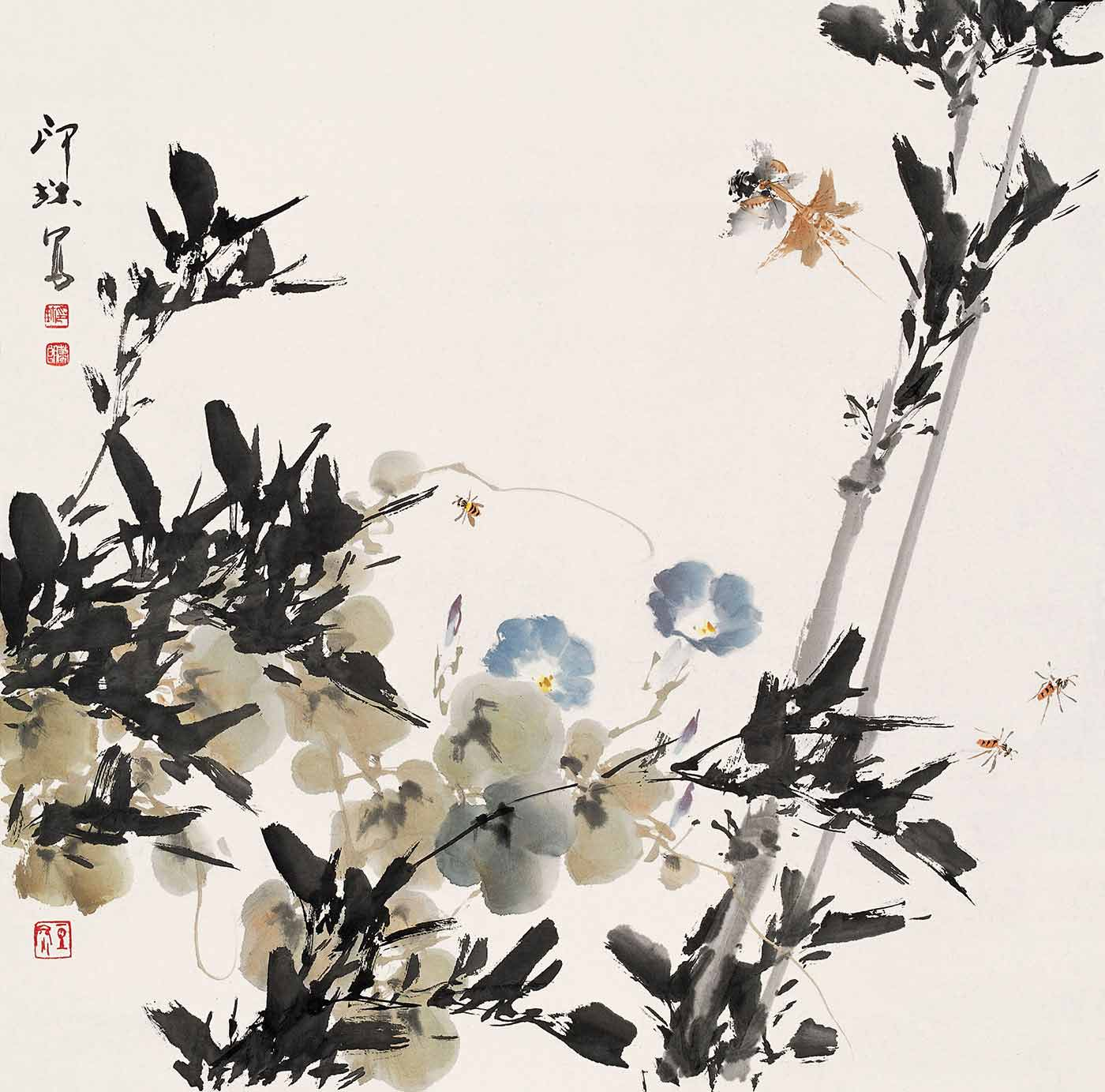 Chinese calligraphic painting in coloured inks showing insects flying among foliage.  - click to view larger image