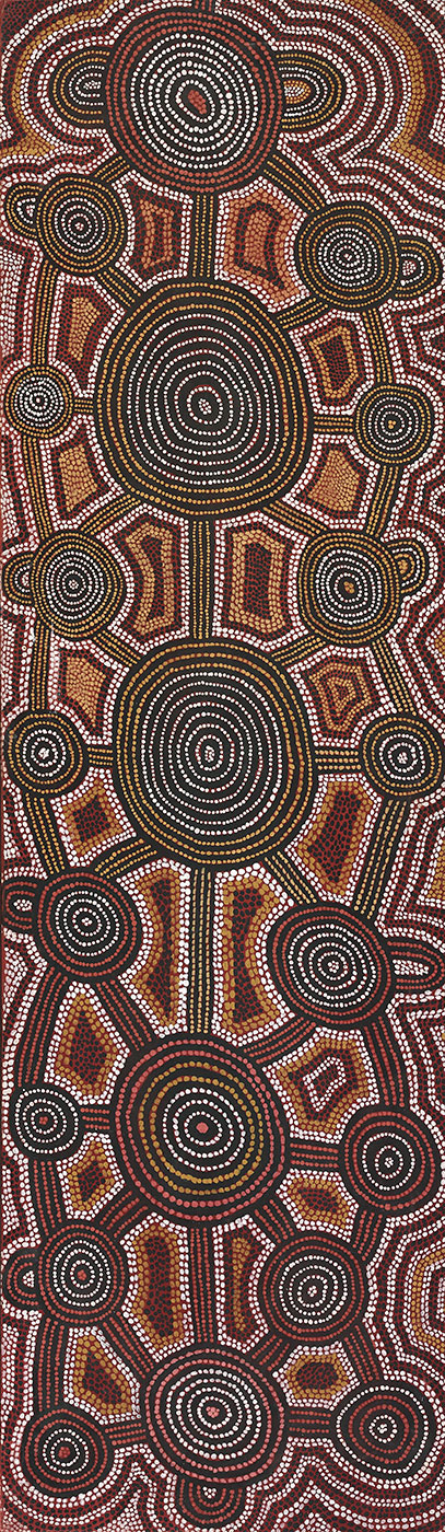 Dreaming at Kamparrarrpa (Kampurarrpa) 1976 by Turkey Tolson Tjupurrula. - click to view larger image