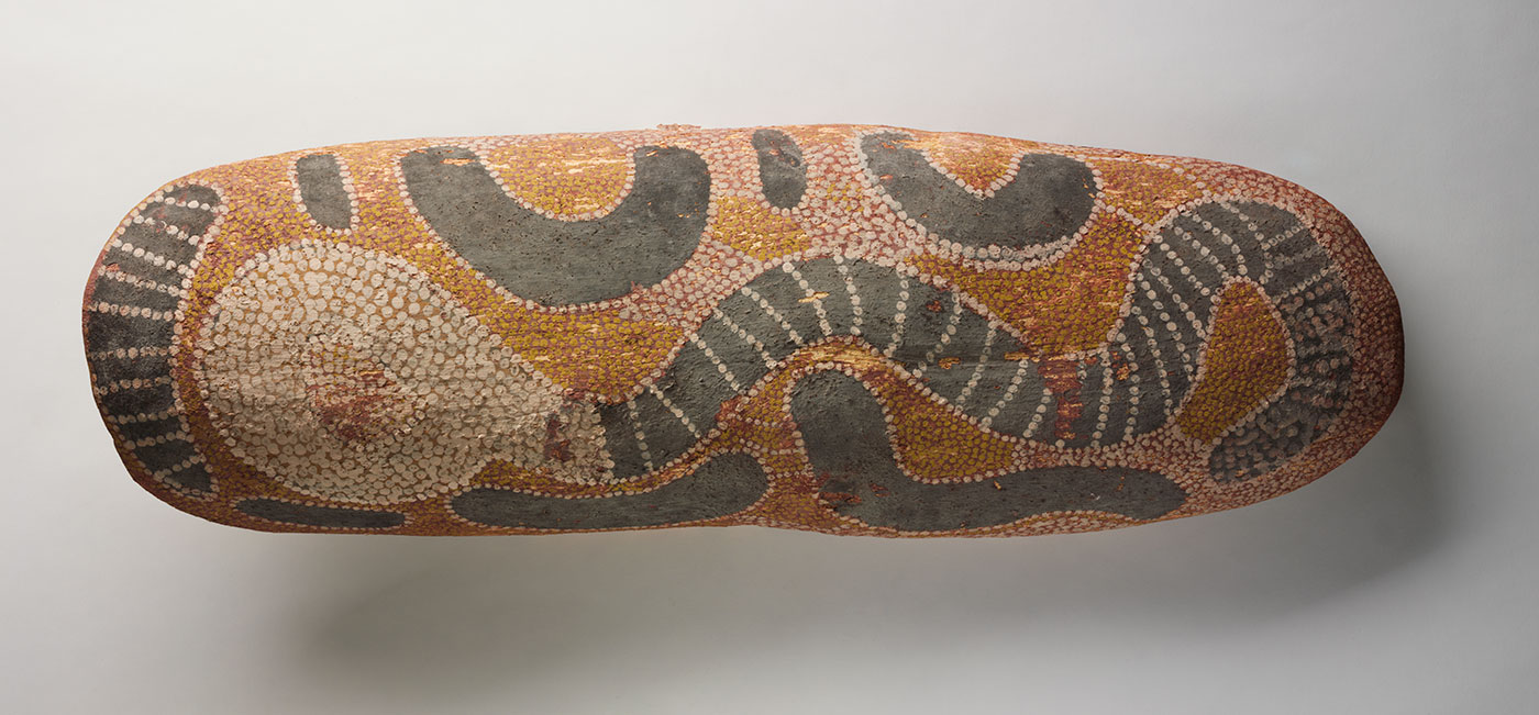 Snake Dreaming at Tjuntina container about 1978 made by Tommy Lowry Tjapaltjarri. - click to view larger image