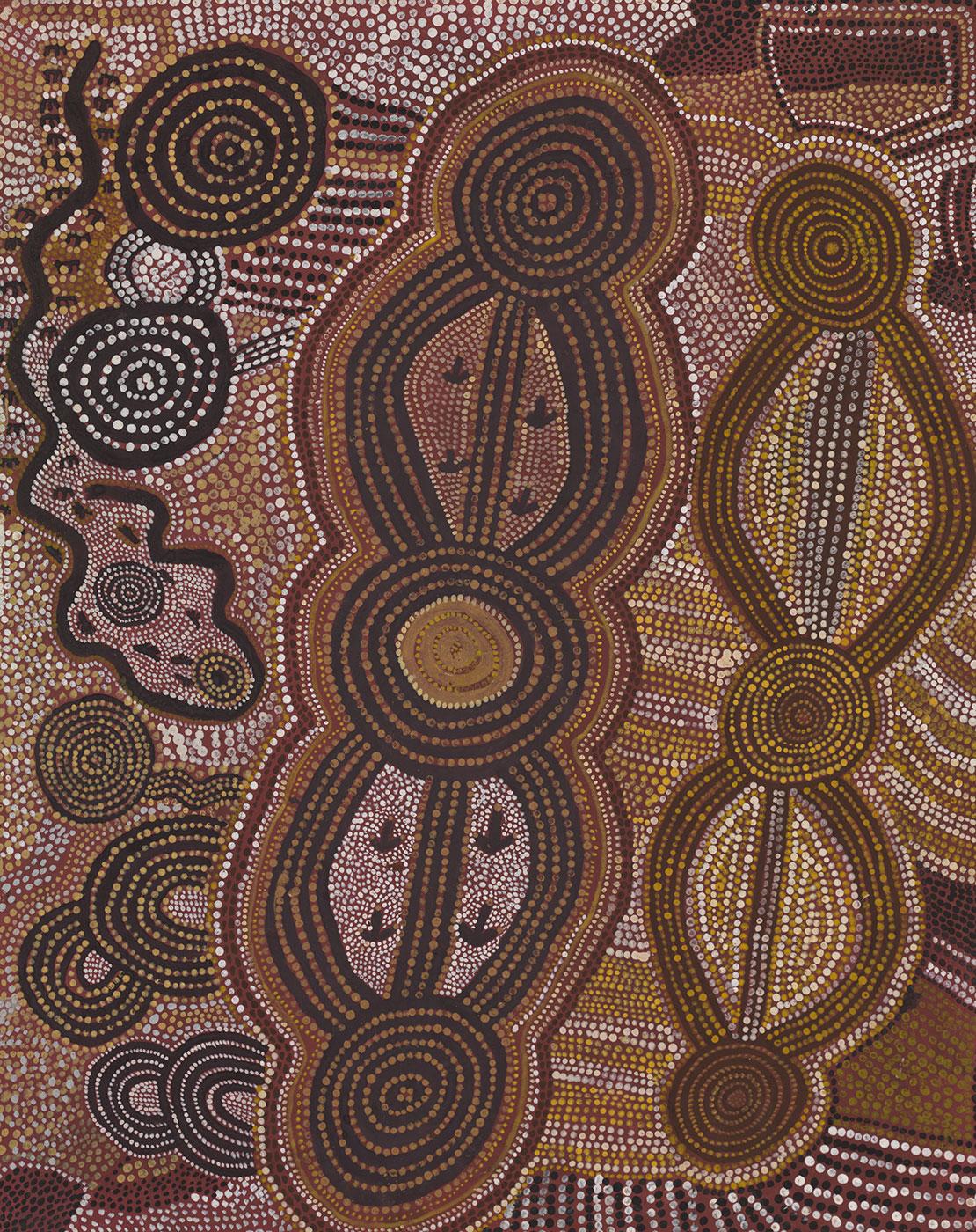 Wanatjalnga 1974 by Charlie Tjaruru (Tarawa) Tjungurrayi. - click to view larger image