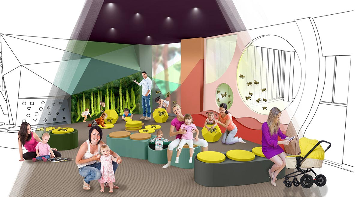 An artist's impression adults and children inside an immersive play space. - click to view larger image