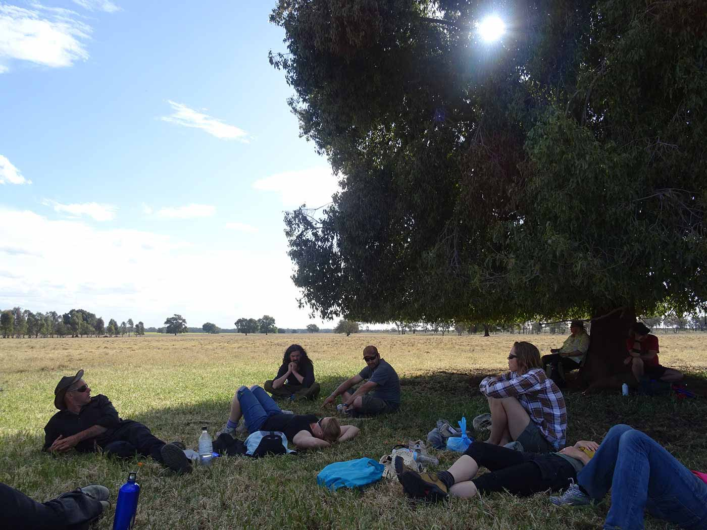Group of walkers sitting and lying in the shade under a kurrajong