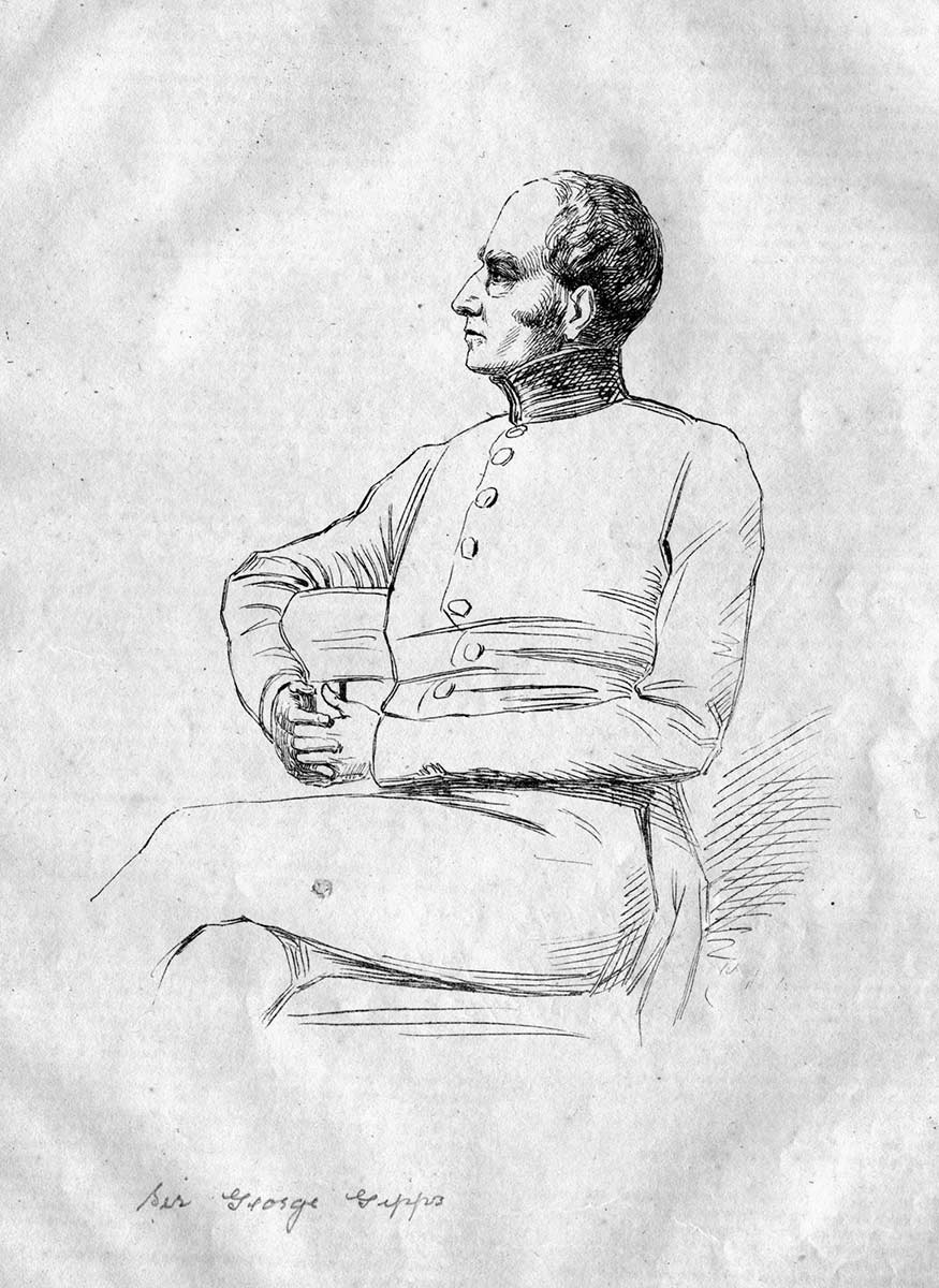 Drawing of a man in profile, seated. - click to view larger image