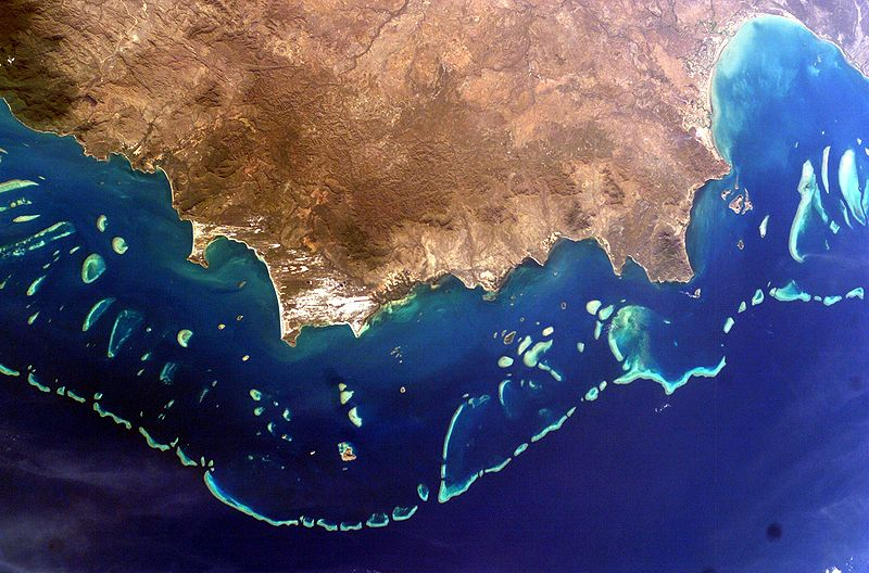Photo taken from space showing part of Queensland fringed by the reef. - click to view larger image