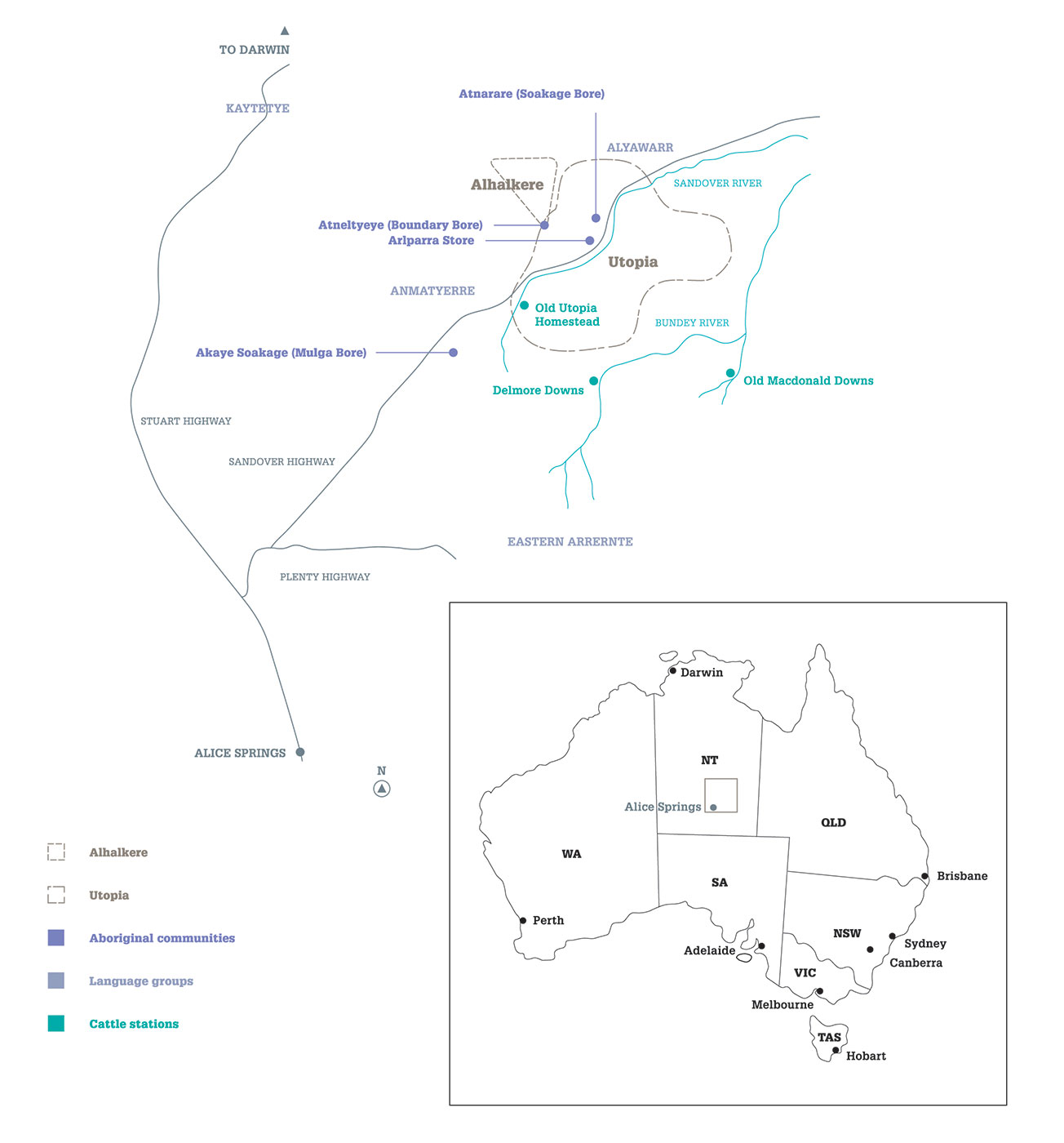 Map of Australia and the Northern Territory showing areas of Utopia and Alhalkere.