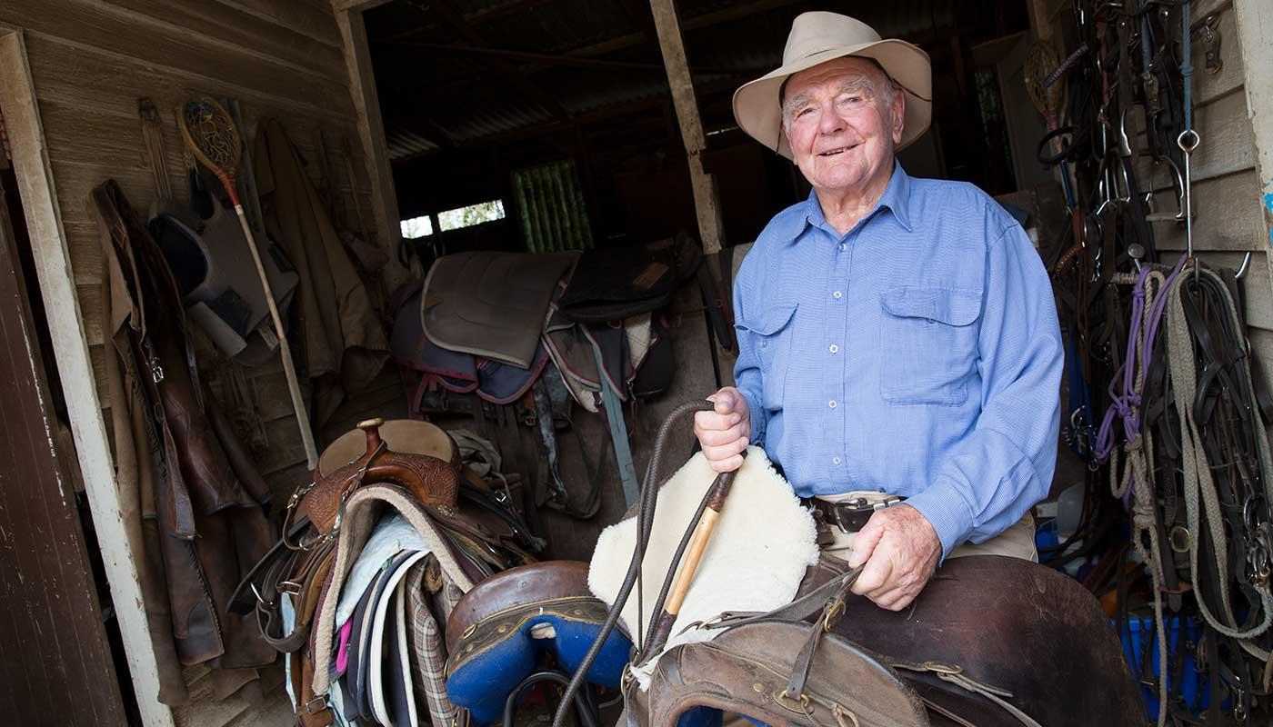 Neale Lavis with his favourite Australian stock saddle.