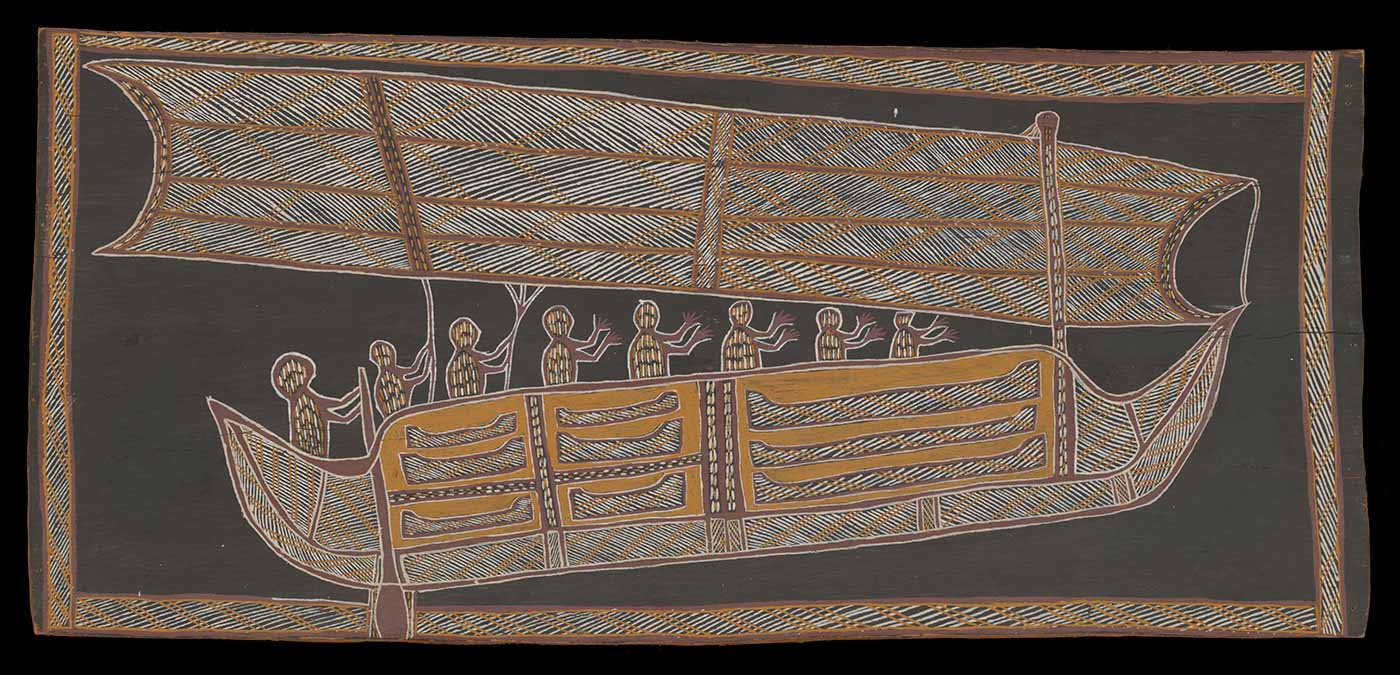 Bark painting, made from ochres on bark, featuring a large sailing boat, with a rectangular sail, containing eight stylised human figures including an oarsman at the vessel's stern. The boat has nine small canoes attached to its side.