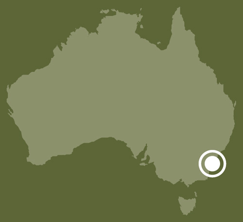 A map of Australia showing the location of Shoalhaven, New South Wales.