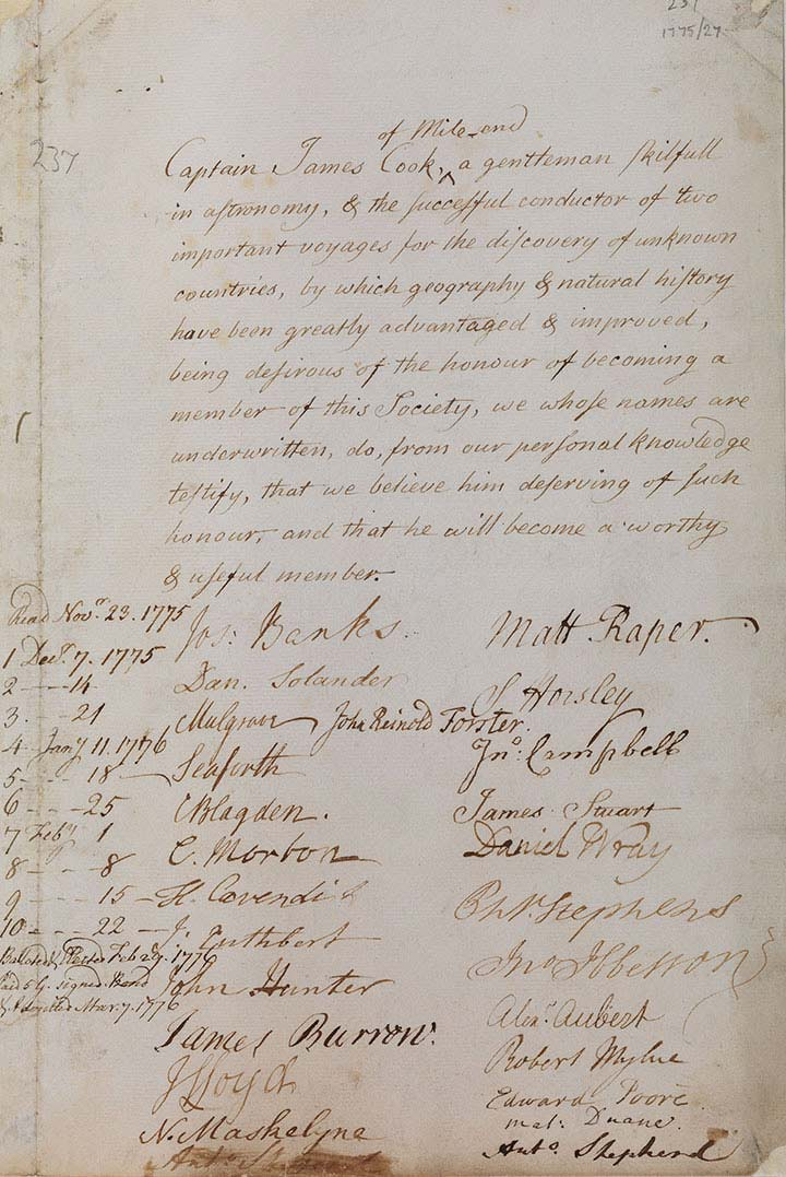 James Cook's Royal Society election certificate. - click to view larger image