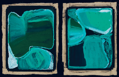 Two paintings by an Indigenous Australian artist, seen side by side. The paintings are predominately green; each has three areas of green tones. Other areas of the paintings are black. There is a rough black border around each painting. Some highlights in pale green and white are visible around the upper green areas of the right side artwork. The left side artwork has some white marks in the bottom left and bottom right, over some of the green tones. The abstract shapes in each painting have light and dark tones in them. The paintings are in portrait format ie the vertical sides are longer than the horizontal sides.