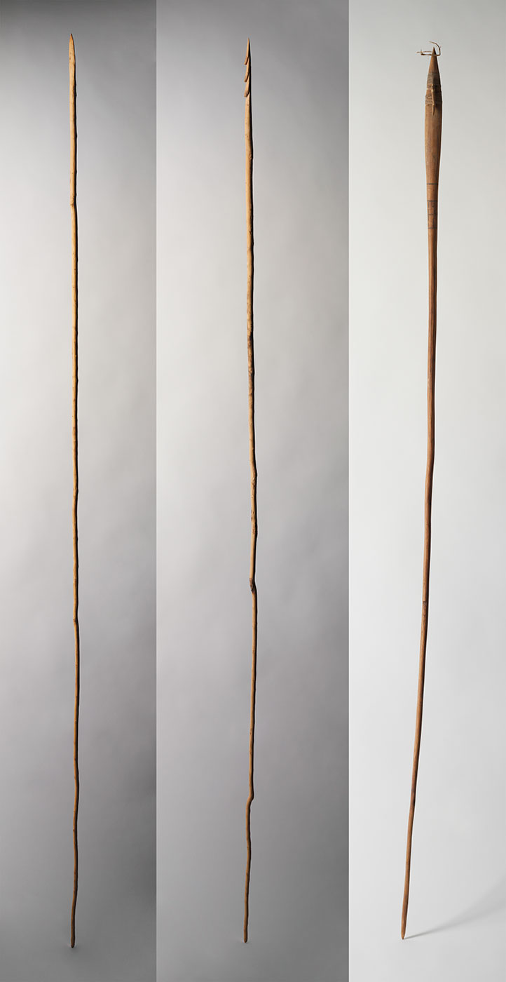 Composite image of three wooden spears.