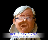 A clay figure representing Kevin Rudd against a black background. At the bottom of the image in blue font is a subtitle with the words 'Act: 5 Kevin 747'. In smaller blue font below this are the words 'Voting lines are now open'.