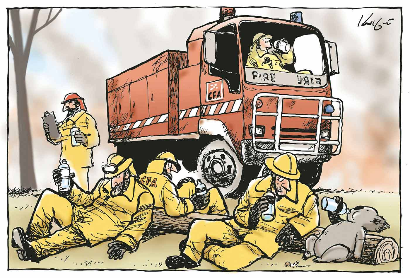 A colour cartoon depicting five 'CFA' firefighters resting in and around a red 'CFA' fire engine, drinking bottled water. A koala with a burnt arm, also holding a water bottle, rests on a log beside one of the firefighters. - click to view larger image