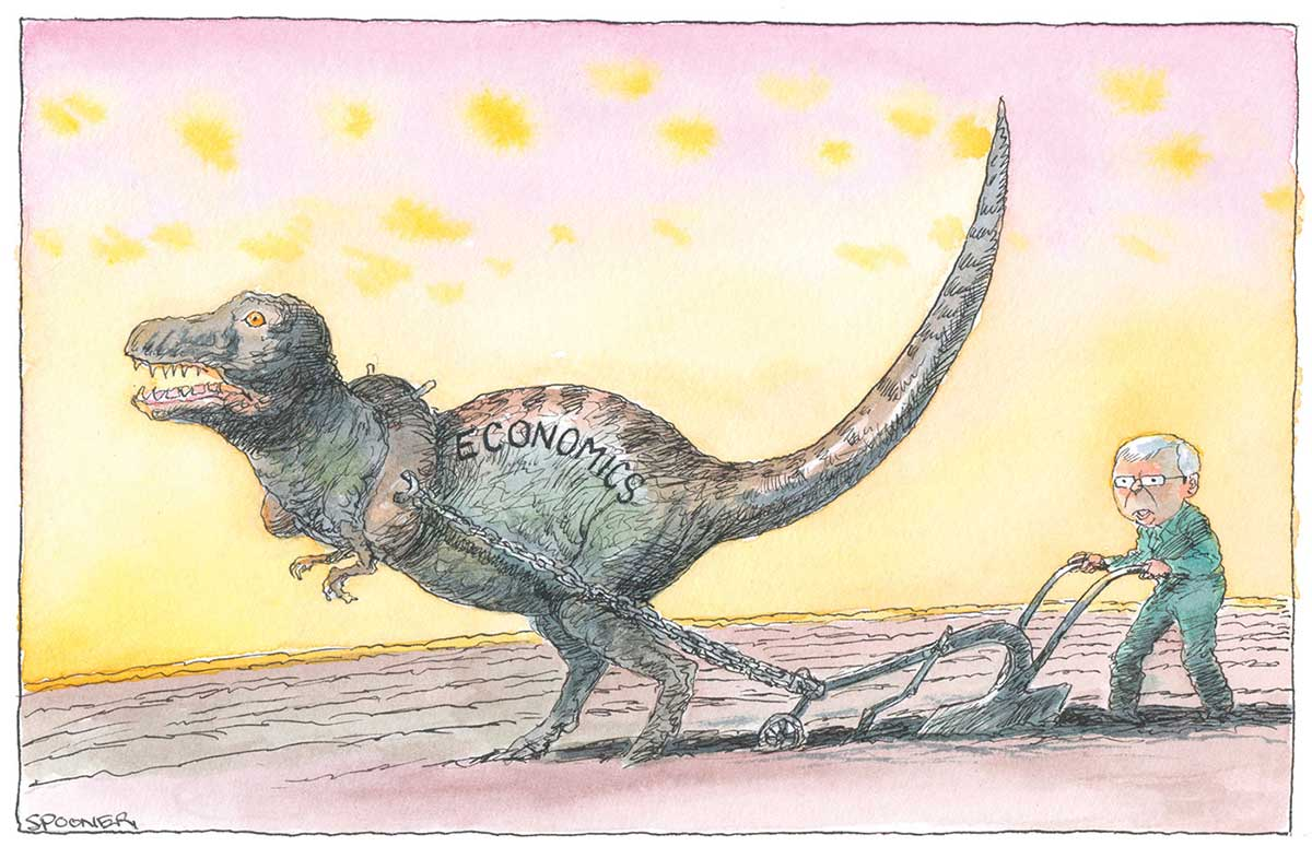 A colour cartoon depicting Kevin Rudd, dressed as a farmer, working in a paddock behind a stump-jump plough, which is attached to a dinosaur named 'Economics'. - click to view larger image