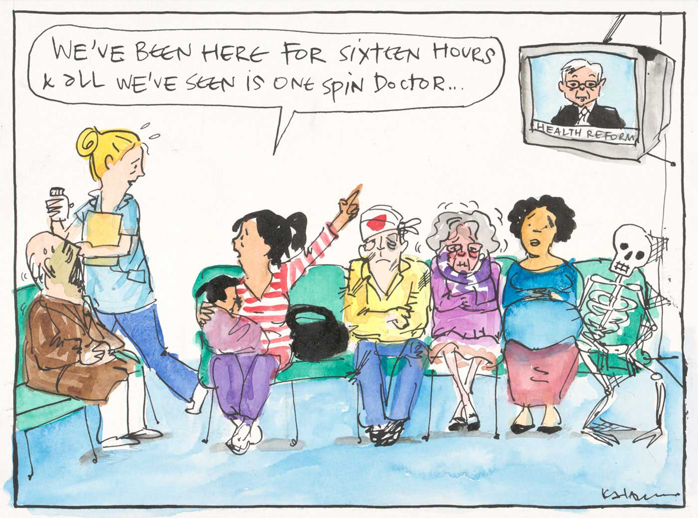 A colour cartoon depicting a hospital emergency department waiting room. Seven people are sitting on chairs: an elderly man, a woman with a young child, a man with a bandaged head, an elderly woman, a pregnant woman and a skeleton with cobwebs. The woman with the child speaks to a passing hospital staff member. She says 'We've been here for sixteen hours and all we've seen is one spin doctor'. As she speaks she points to a TV in the upper right corner of the cartoon. On the TV is Kevin Rudd. Under his image are the words 'Health Reform'.  - click to view larger image