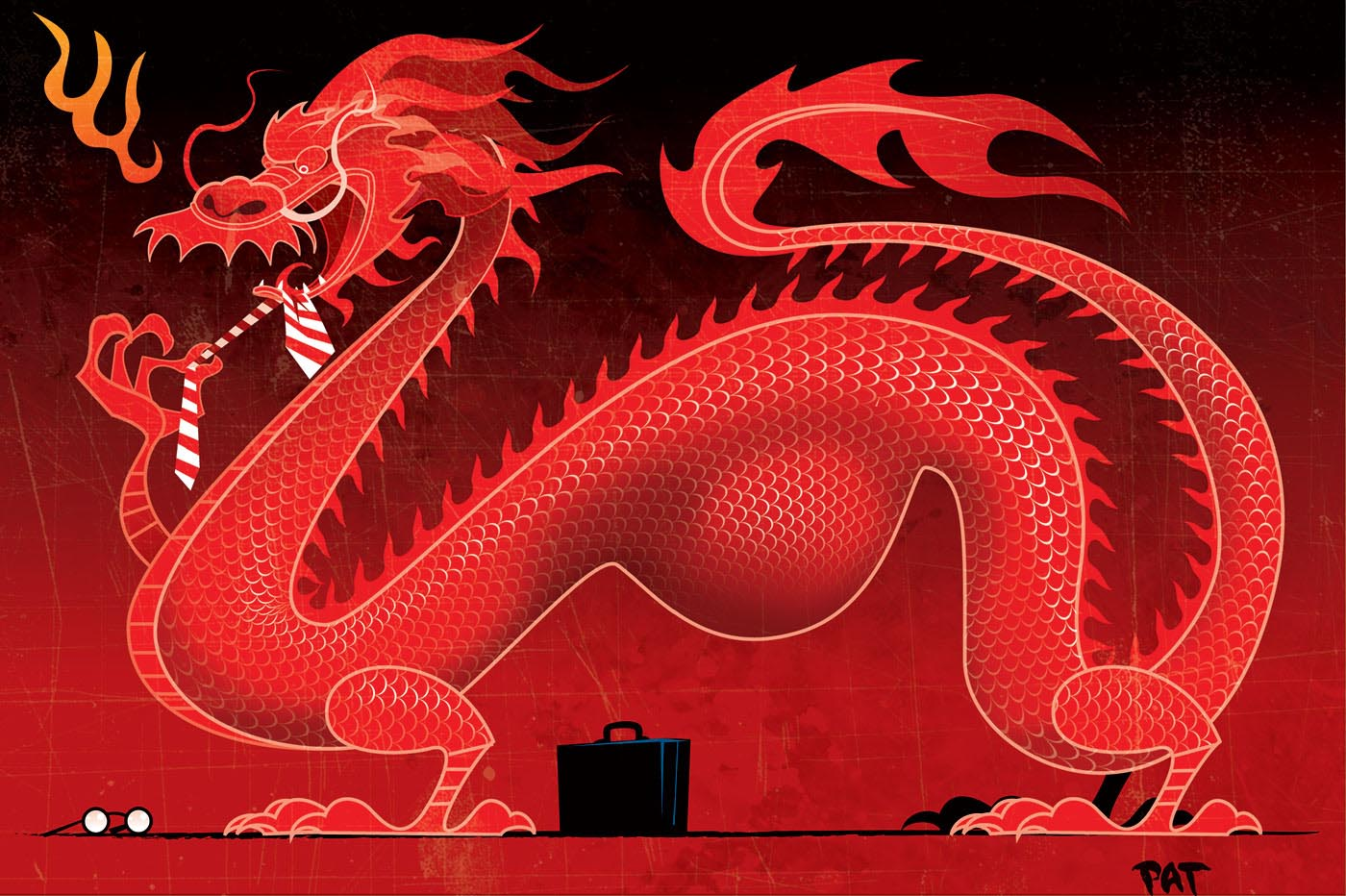 A colour illustration depicting a stylised red Chinese dragon. The dragon is seen side on, facing the left side of the image. It has a long, curved body. A briefcase and a pair of glasses can be seen on the ground under the dragon. A large lump in the dragon suggests it has just eaten a business person. The dragon appears to be flossing its teeth with a red and white striped tie. - click to view larger image