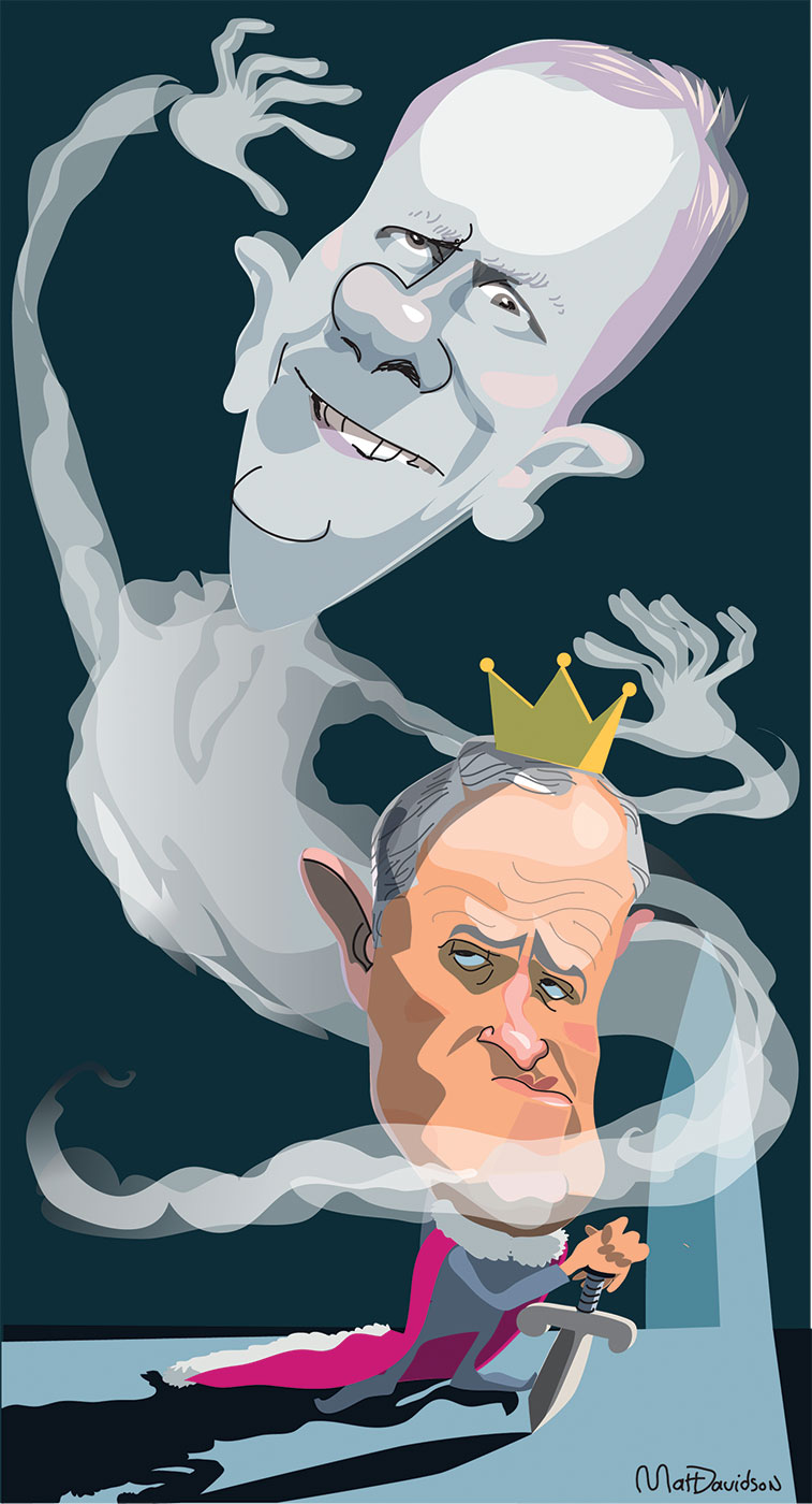 A colour cartoon depicting Malcolm Turnbull standing at the centre and wearing a bright pink regal cape with white trim. His head is proportionately huge and is topped with a small gold crown. His hands are folded on top of a sword which is positioned, point downwards, as if it were a cane or walking stick. Peter Costello is shown as a wraith swirling around Mr Turnbull, his head even larger than Mr Turnbull's and taking up proportionately more space in the frame than Mr Turnbull. His hair is violet and eyes and expression demonic. Mr Costello's hands are up beside his ears in a scary ghost gesture. - click to view larger image
