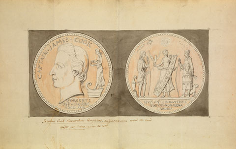 Paper showing a suggested design for the Royal Society Cook Medal 1784–85. The Royal Society. - click to view larger image
