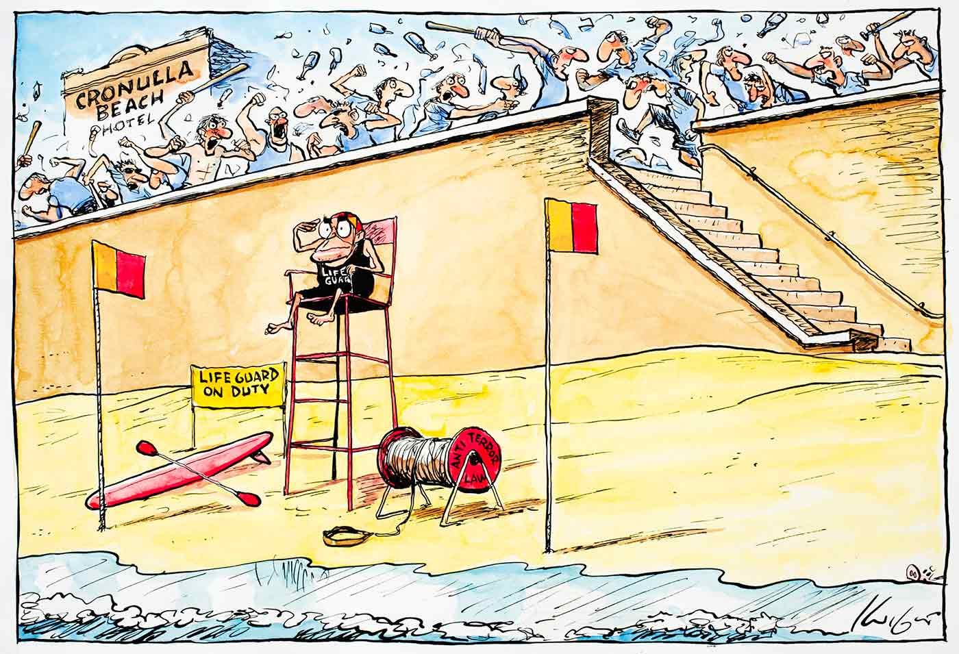 Cartoon of John Howard on Cronulla Beach as a lifeguard, monitoring the water while a large number of people are fighting and attacking each other with bottles and baseball bats behind him on the esplanade - click to view larger image