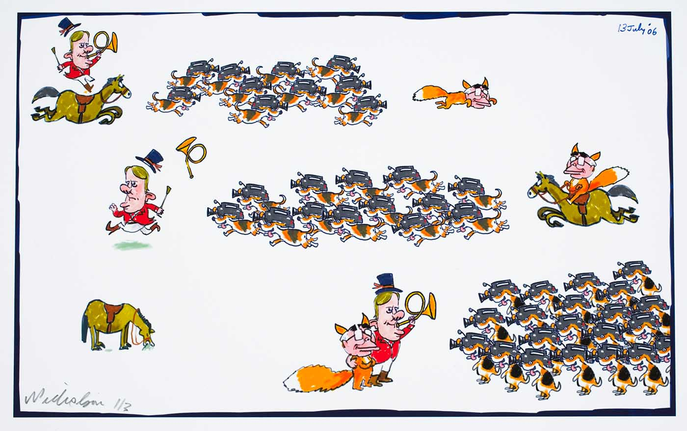 Cartoon showing a fox hunt, with Peter Costello as a rider, John Howard as the fox and the media as dogs. First Costello chases Howard, then Howard chases Costello, then at the end they are arm in arm - click to view larger image
