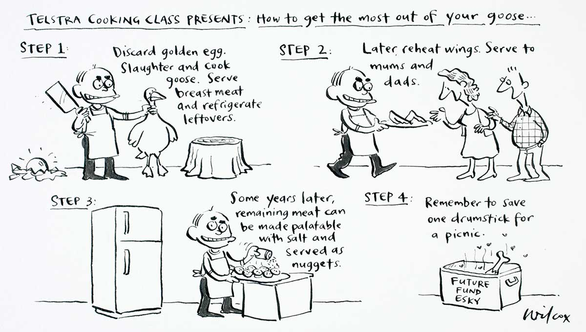 Cartoon of John Howard demonstrating how to get the most out of the goose that laid the golden egg (ie. Telstra) - click to view larger image