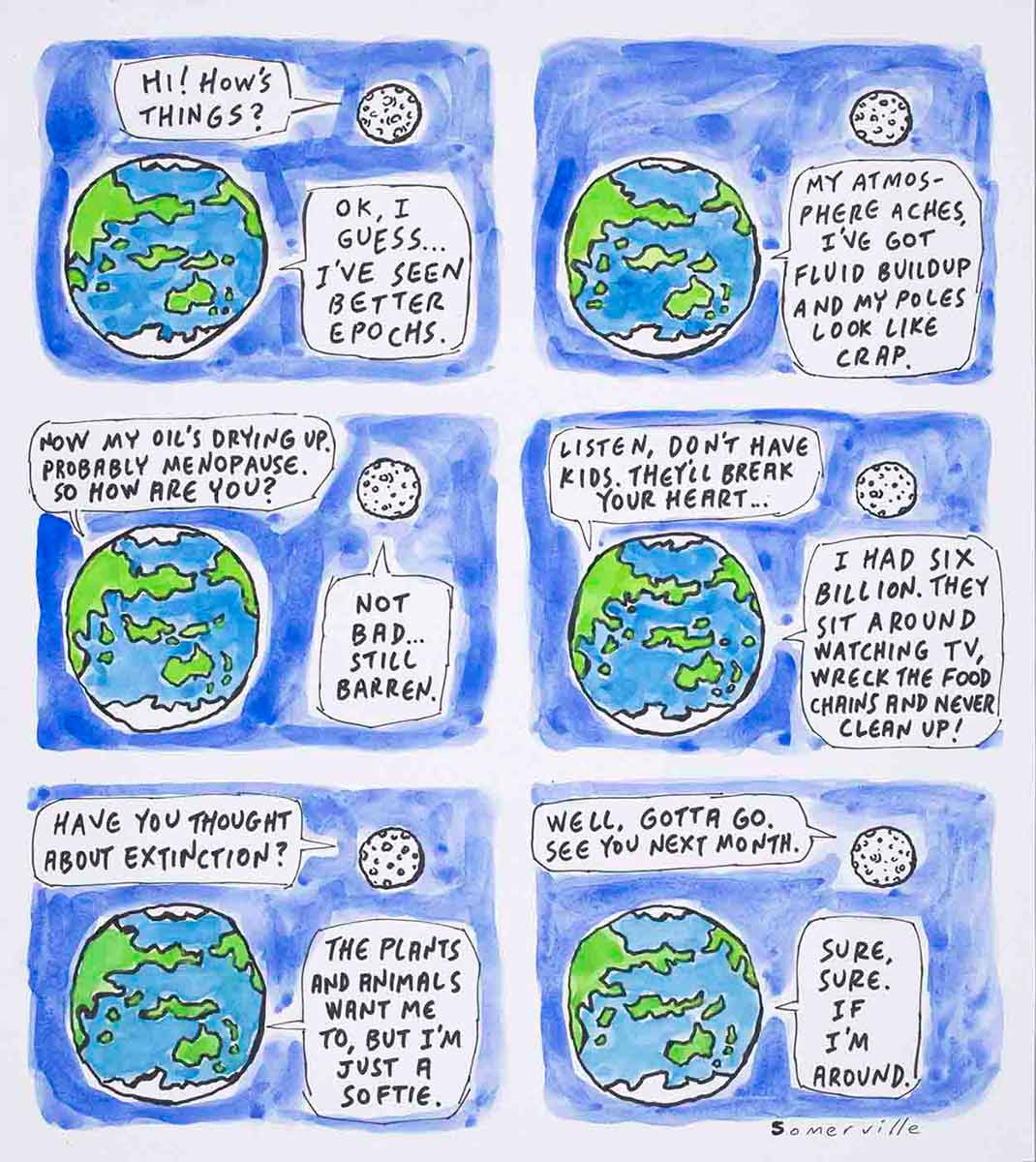 Cartoon of the planet earth chatting with the moon about its environmental concerns - click to view larger image