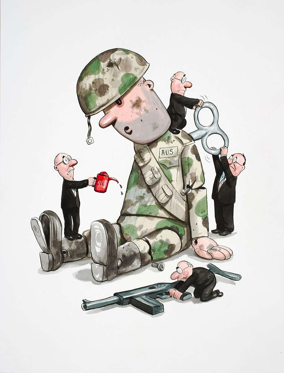 Cartoon of a large toy soldier with four little men in black suits, winding him up, oiling him and preparing his gun - click to view larger image