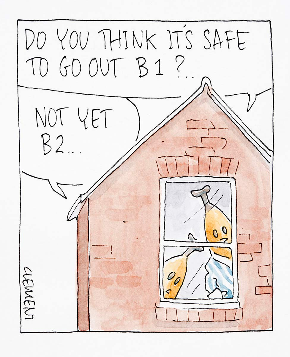 Cartoon of bananas in pyjamas characters B1 and B2 in their house looking out the window, asking each other if it's safe to go out - click to view larger image