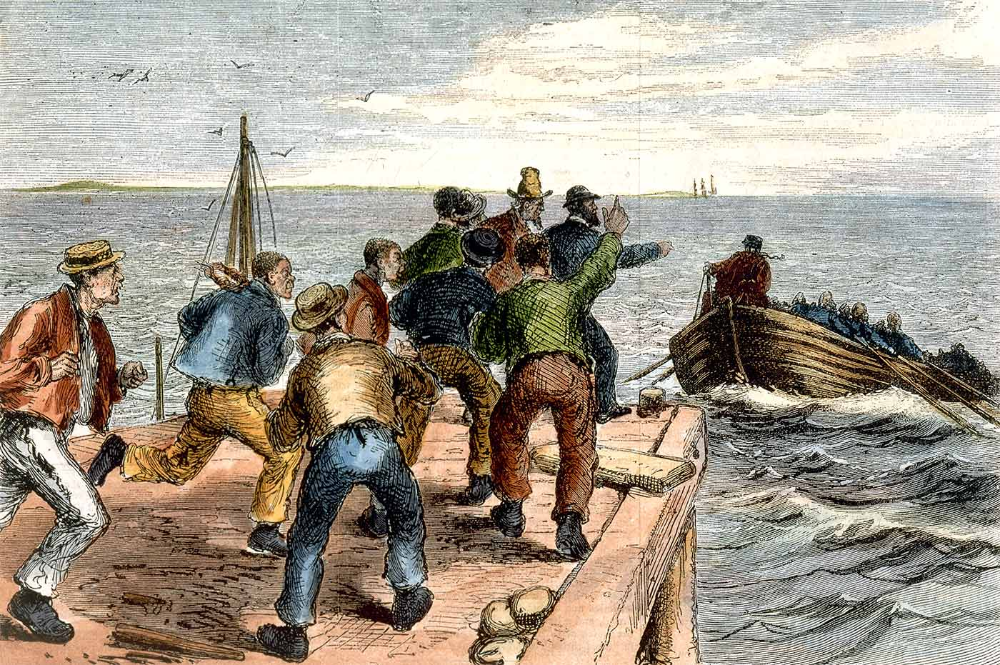 Watercolour sketch featuring men escaping by boat in pursuit of a group of other men.