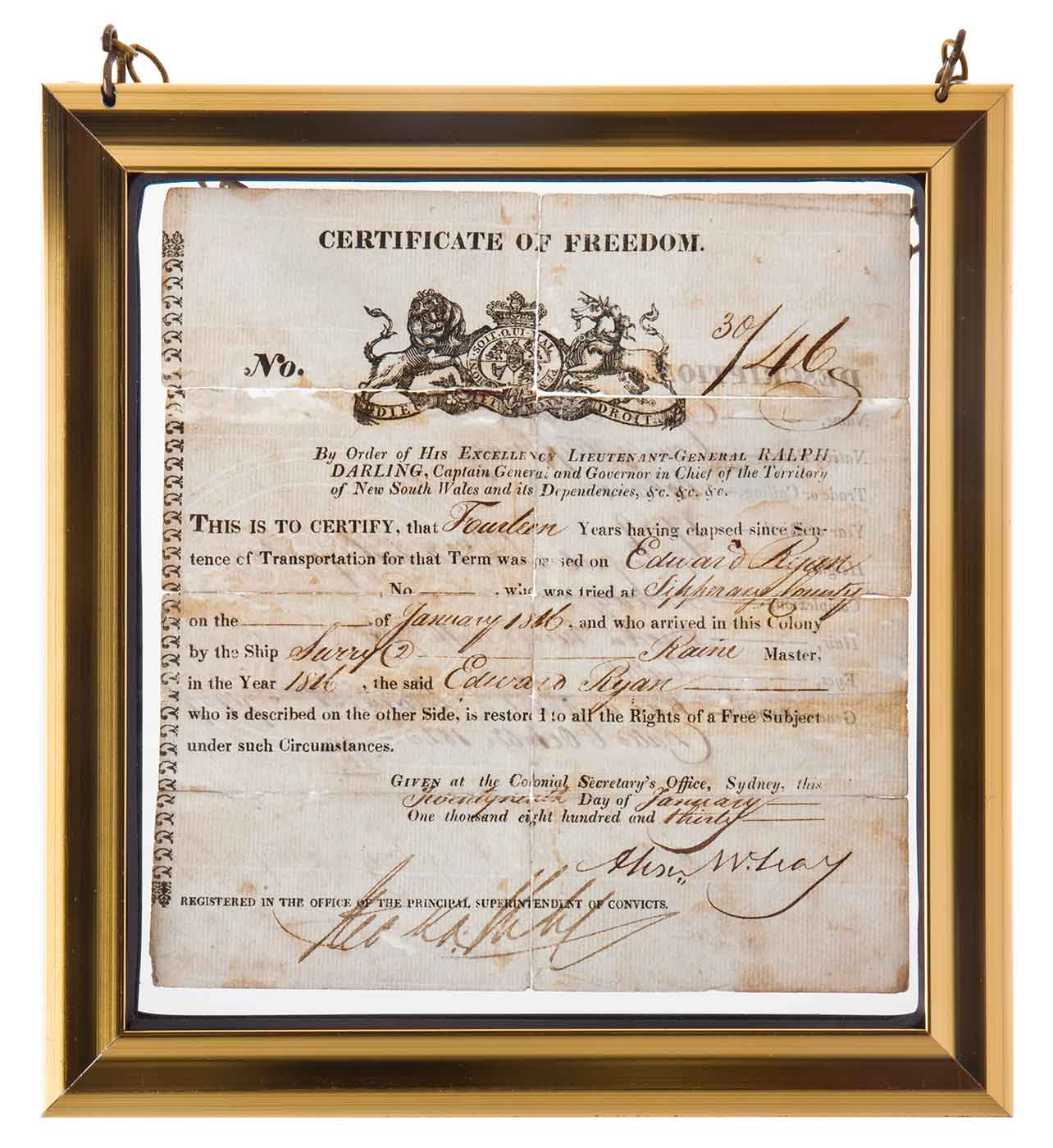 Framed certificate with title: CERTIFICATE OF FREEDOM.