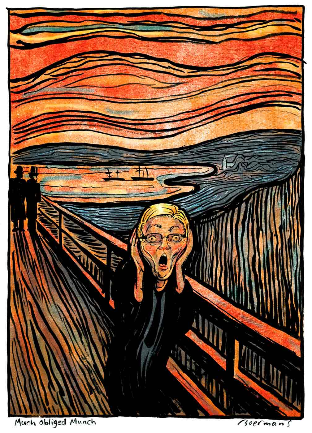 A colour cartoon based upon the painting The Scream, by Edvard Munch. Kevin Rudd is seen standing on a long pier. He faces the viewer; he has both hands at the side of his head and his mouth open as though he were screaming. In the background on the pier stand two people in silhouette. Beyond them is a harbour with two sailing ships on it. The sky is orange and broken into layers by thick, dark wavy lines. Other dark lines appear in the landscape around the harbour. The use of the dark lines reinforces the uneasy feelings suggested by the cartoon.  - click to view larger image