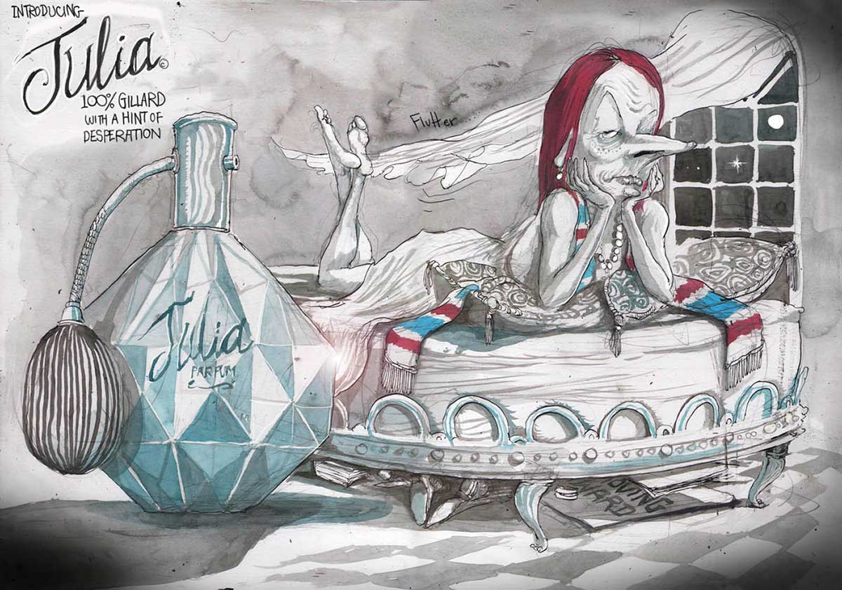 A colour cartoon depicting Julia Gillard lying on her stomach on a bed. In the backgound is a window with the moon and night sky visible. A long curtain is blown toward the bed. Julia wears a flowing dress and a red, blue and white scarf. She rests her chin in her hands and looks at the viewer. At the left of the cartoon is a bottle of perfume, with 'Julia parfum' on it. Above the bottle is written 'Introducing Julia. 100% Gillard with a hint of desperation'.  - click to view larger image