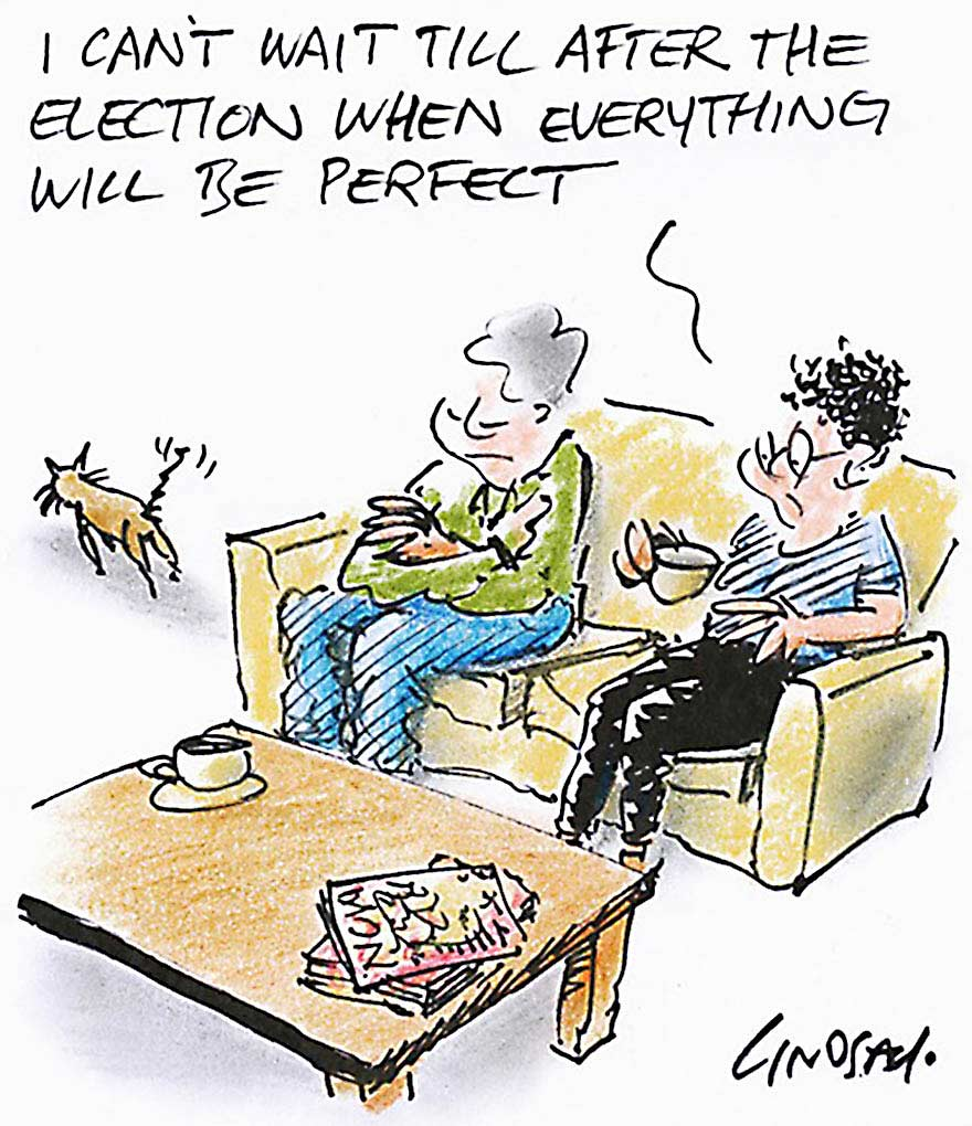 A colour cartoon depicting two women sitting on a couch. One holds a cup, while the other sits with her arms folded. In front of them is a coffee table with magazines and a cup and saucer on it. A cat is near the couch, to the left in the cartoon. The woman holding the cup says 'I can't wait till after the election when everything will be perfect'.  - click to view larger image