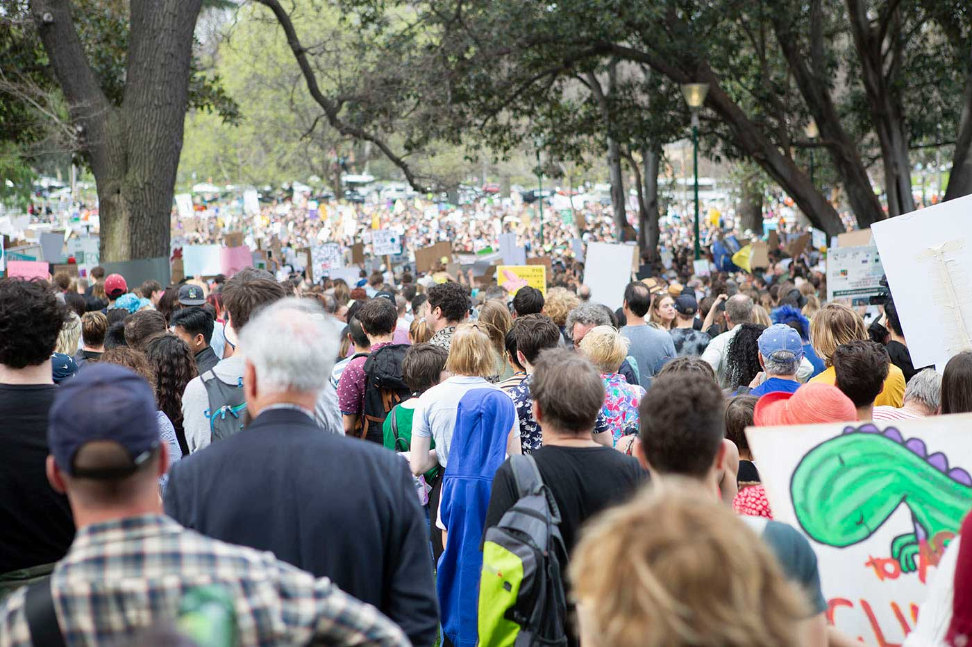 Protesters at a rally against climate change.