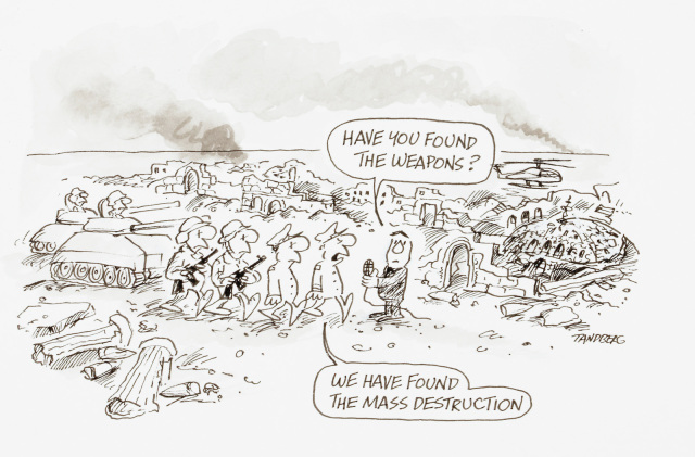 A cartoon depicting a group of solders and a reporter in a ruined city. The reporter asks, 'Have you found the weapons?' and the leader of the soldiers replies 'We have found the mass destruction'. - click to view larger image