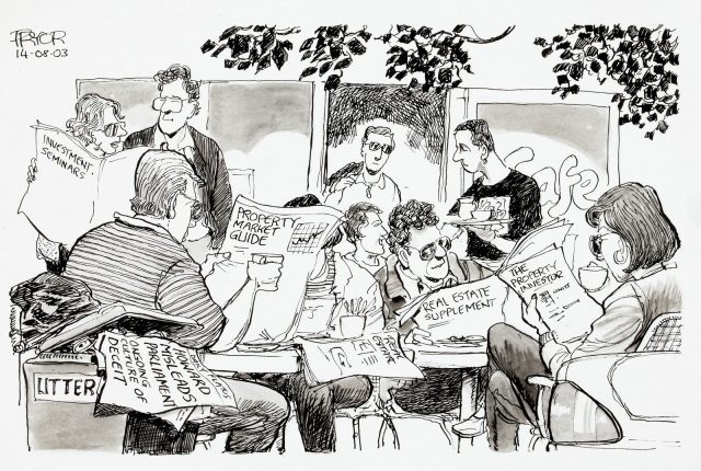 A cartoon of a crowd of people in a cafe. They are all reading property and real estate papers. In a nearby bin, lies a newspaper with the headline 'Howard misleads parliament. Ongoing culture of deceit'. - click to view larger image
