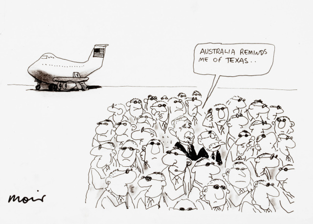 A comic featuring George Bush and John Howard surrounded by a crowd of bodyguards. Bush says 'Australia reminds me of Texas...'. An plane is parked in the background. - click to view larger image