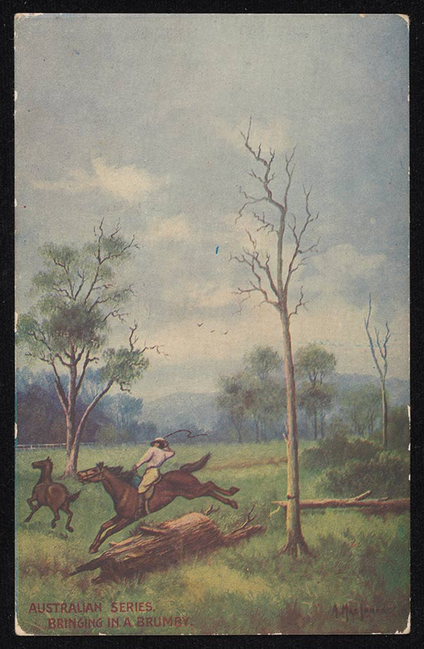 Image of a man jumping a log on a horse. He has a whip raised in one hand and is chasing another horse. - click to view larger image