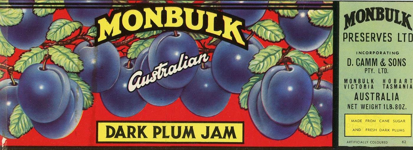 Label for Monbulk Dark Plum Jam. - click to view larger image