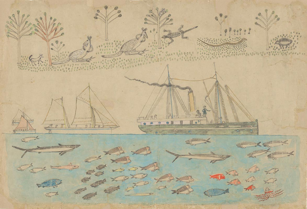 A pencil and paint picture of boats and native Australia animals and plants. - click to view larger image