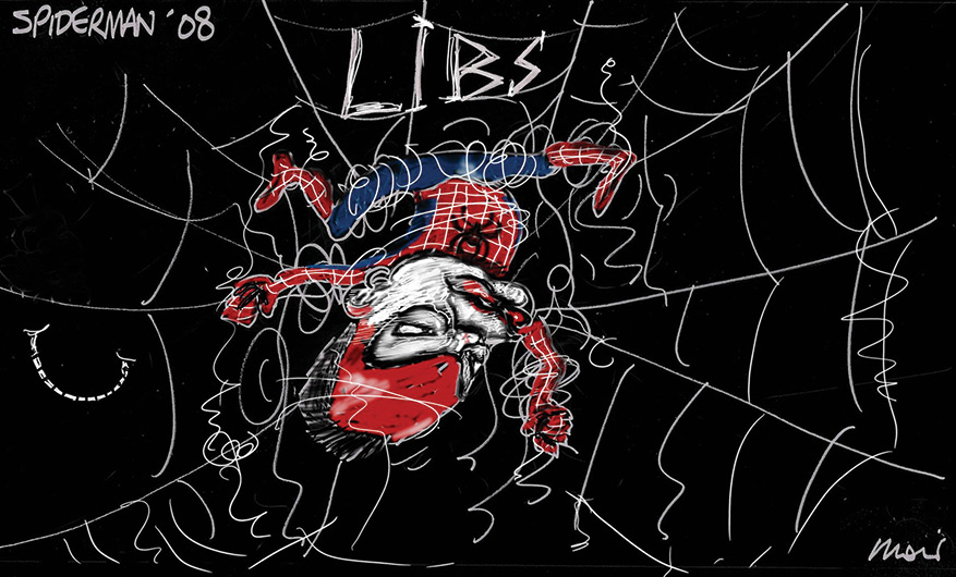 Caricature of Brendan Nelson dressed in a red and blue Spiderman costume, upside down and tangled in a web which reads 'LIBS'. - click to view larger image