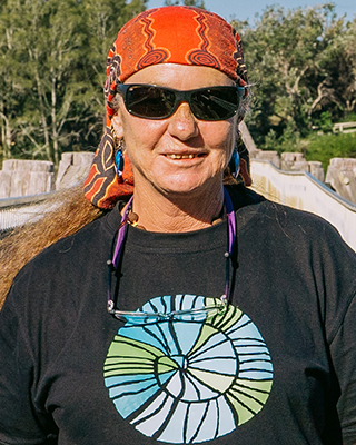 A portrait photo of Michelle Flanders, Aboriginal Project Officer at Saltwater Freshwater Arts Alliance.