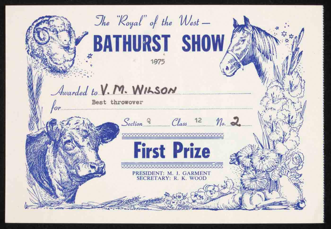 Bathurst show first prize certificate - click to view larger image