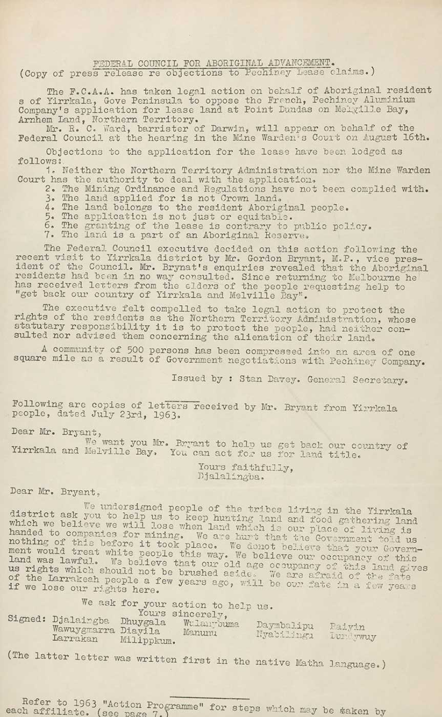 Document titled: 'FEDERAL COUNCIL FOR ABORIGINAL ADVANCEMENT'.