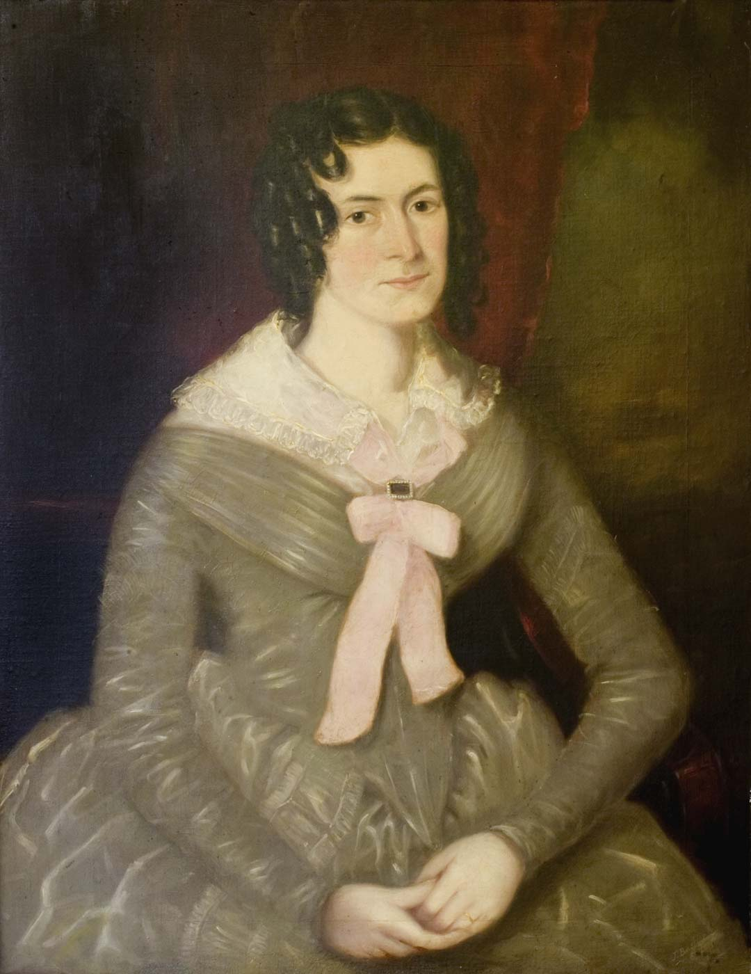 Painting of a woman in an 18th century robe. - click to view larger image
