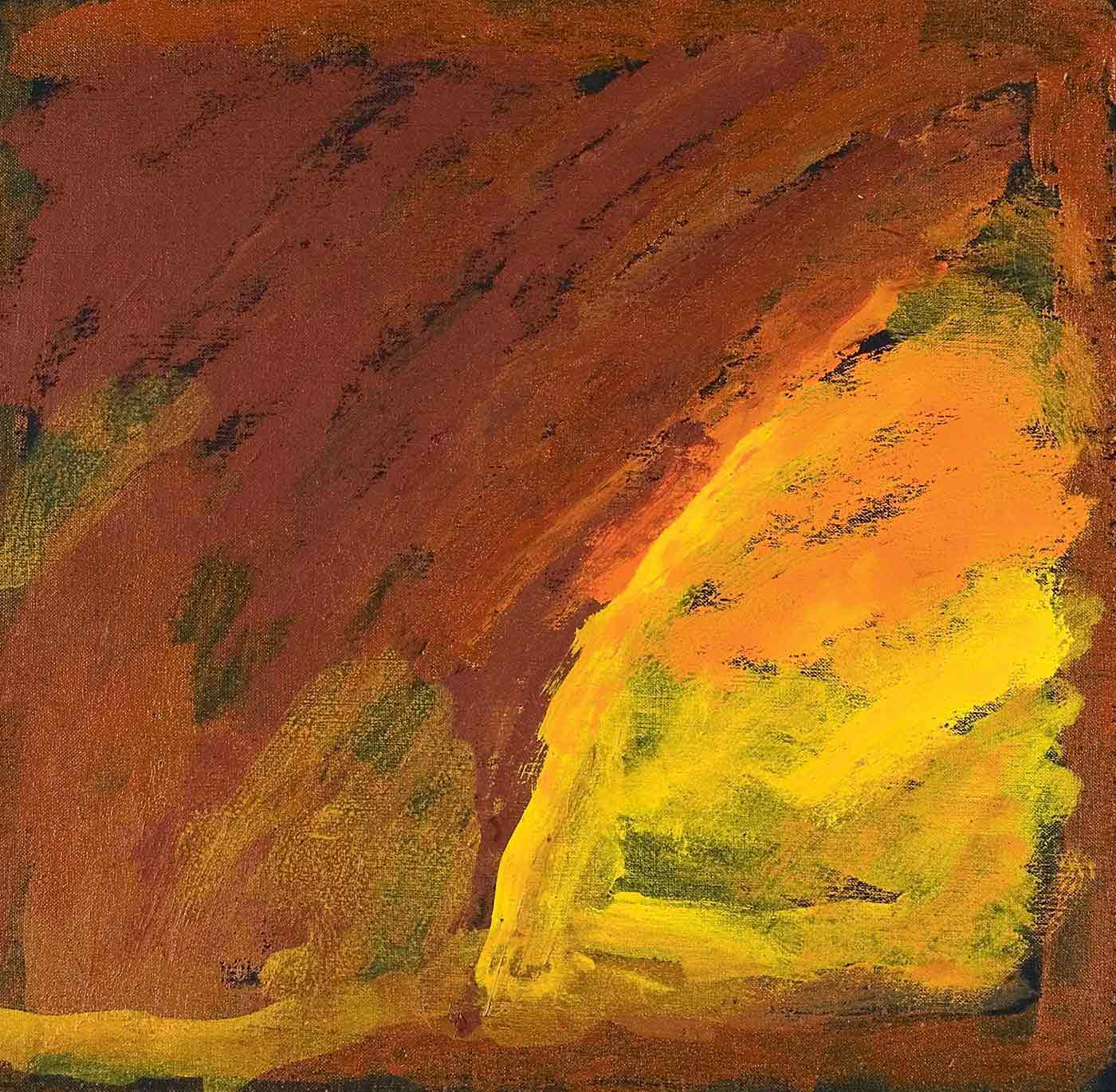 A brown linen canvas featuring a square painting on a black background with shades of yellow, brown and orange. One corner is filled with yellow with a curved edge like a quarter of a circle, which then blends into the brown and orange colours of the rest of the canvas. The text on the bottom edge of the canvas reads 'Milly Kelly - Martumil' and 'PMK/26/MM 45 x 45cm' is on the right side edge. - click to view larger image