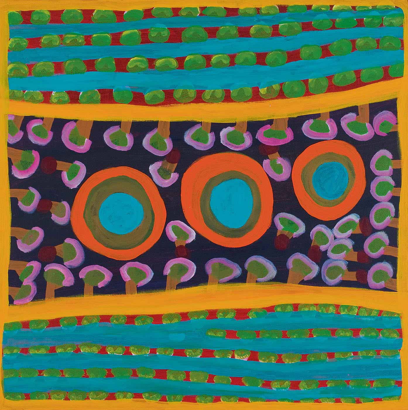 A square multicoloured painting on canvas divided into three horizontal segments, with three turquoise, green and orange concentric circles in a line across the centre, which rises slightly at the right side. These are surrounded by pink, brown and green tree-like motifs on a black background. Above and below this central section is a line of yellow then lines of turquoise separated by green discs on red stripes. - click to view larger image
