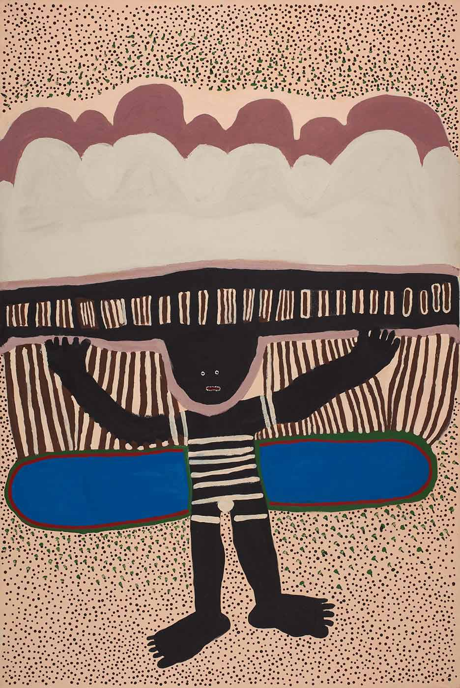 An acrylic on canvas stretched painting depicting a black human like figure with arms in the air and balancing something on it's head. A blue oval is painted behind the figure and the background is cream with green, black and brown dots. - click to view larger image