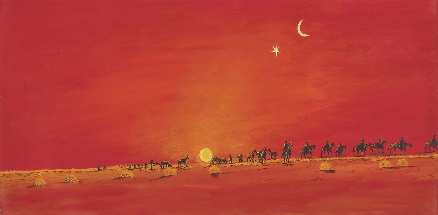 Canning Stock Route by Mervyn Street, Mangkaja Arts, 2008. Acrylic on canvas. - click to view larger image