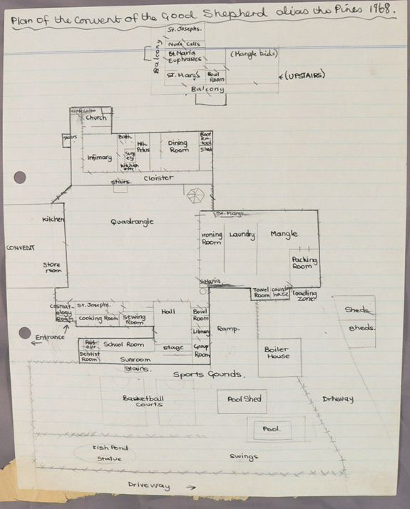 Photograph of a ruled, A4 sheet of paper with 'Plan of the Convent of the Good Shepherd alias the Pines 1968' written at the top. A hand-drawn map shows the floor plans of several buildings and external features around a central quadrangle. - click to view larger image
